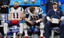 The New England Patriots take on the Los Angeles Rams in the Super Bowl.